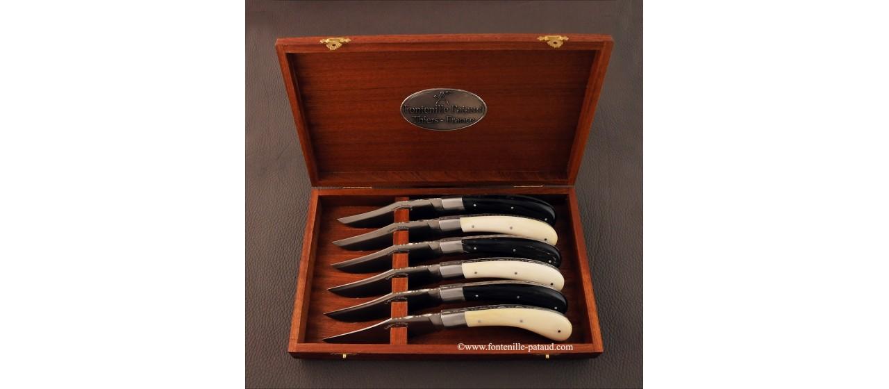 Boîte de 6 Capuchadou de table ® Os et Pointe de corne noire guilloché