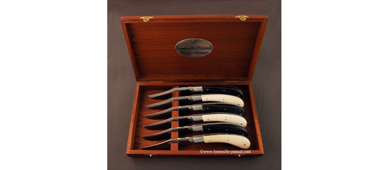Set of 6 Le Capuchadou ® knives guilloché real bone & buffalo horn tip