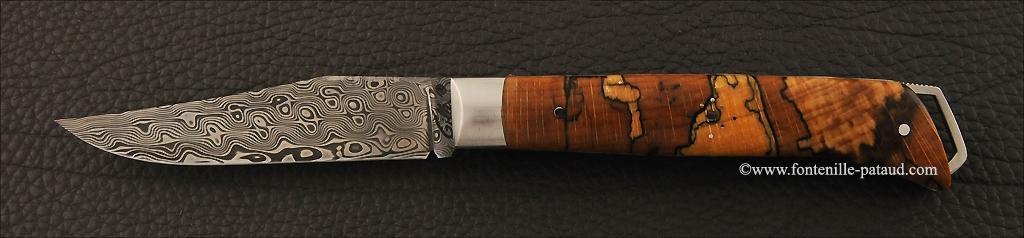 Couteau Le Saint Bernard Damas hêtre debout stabilisé