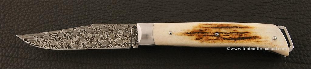 Couteau Le Saint Bernard Damas bois de cerf