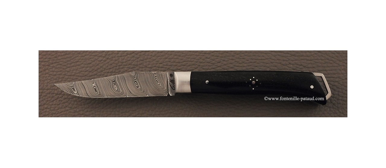 Savoy knife real ebony and damascus blade