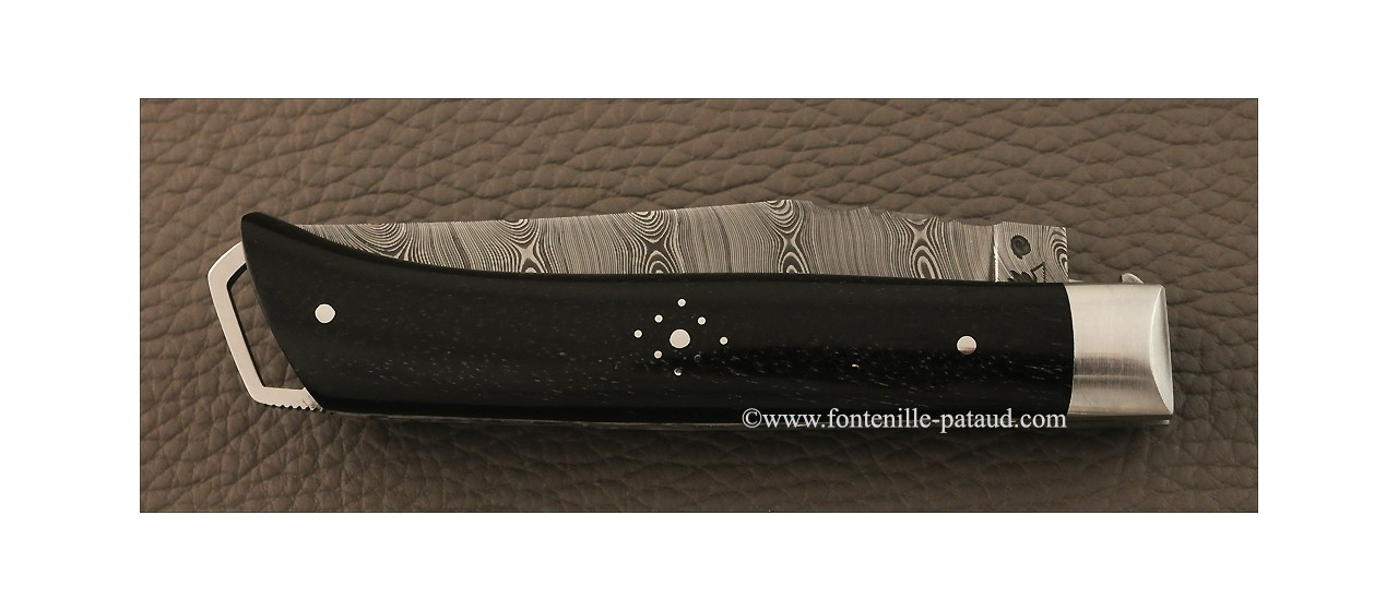 Savoy knife real ebony and damascus blade