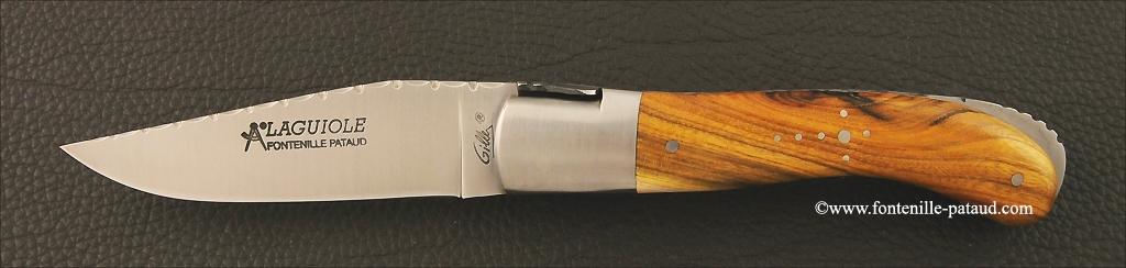 Laguiole Sport knife guilloché pistaccio wood