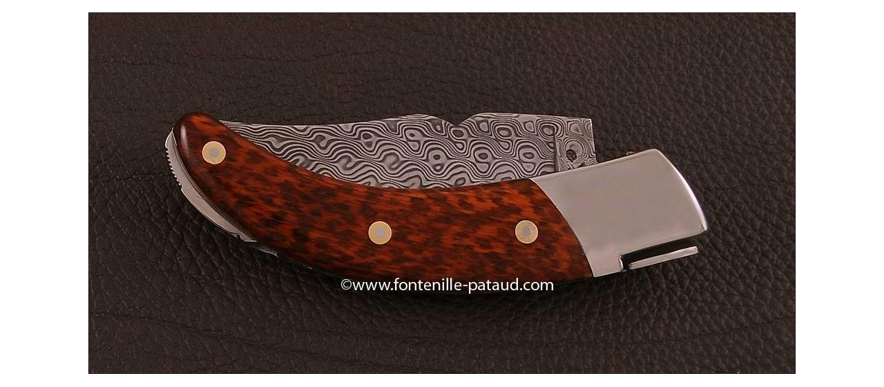 "Corsican Rondinara knife ""guilloché"" damascus range Amourette"