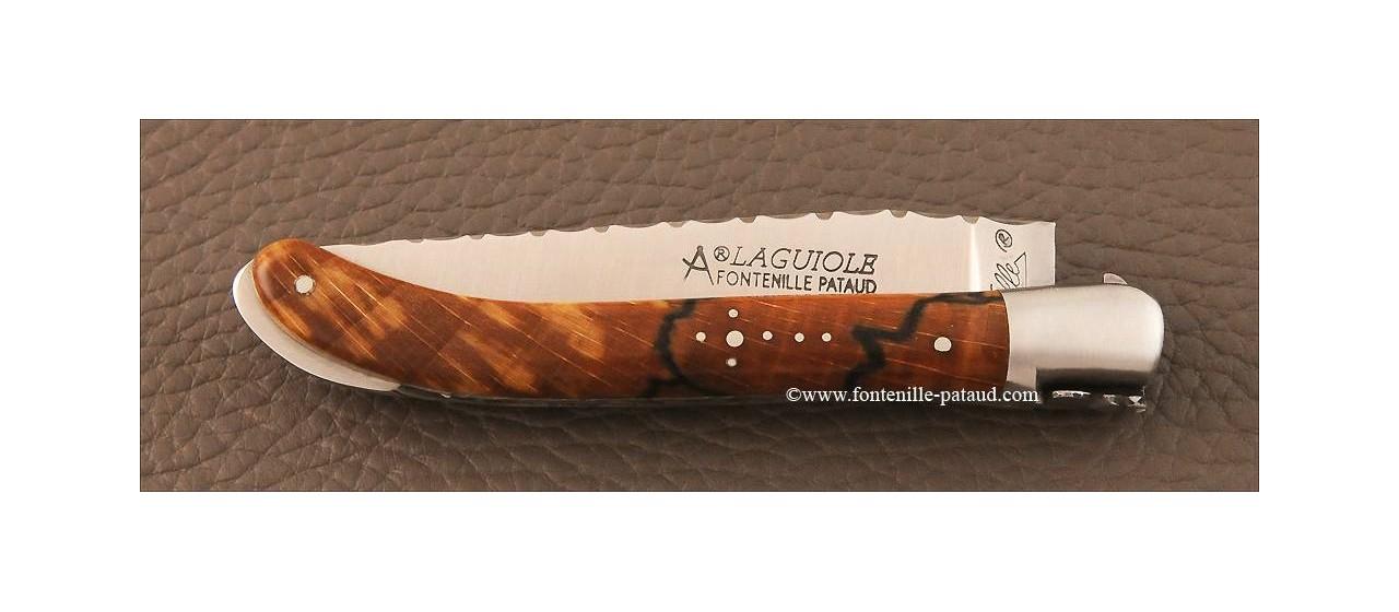 Couteau Laguiole XS Guilloche hêtre debout stabilisé