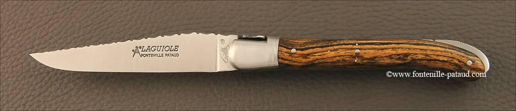 French Laguiole nature knife guilloché bocote