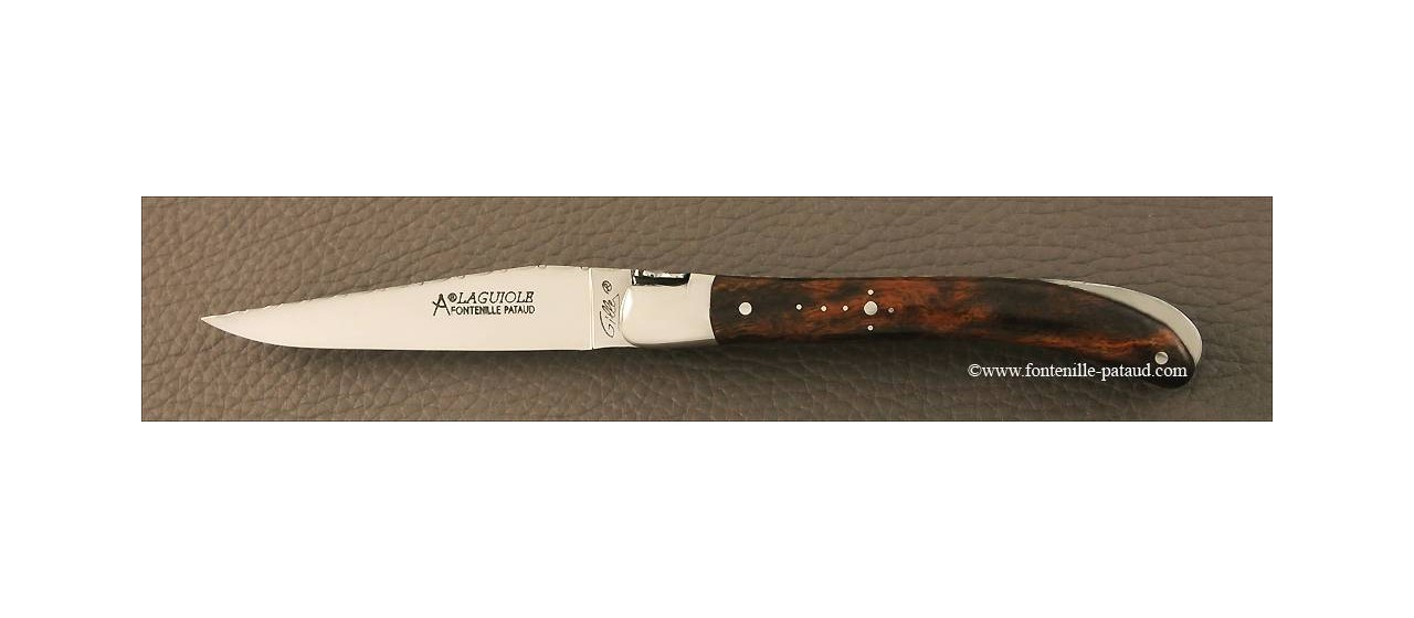 French laguiole knife guilloché le Pocket Arizona Ironwood