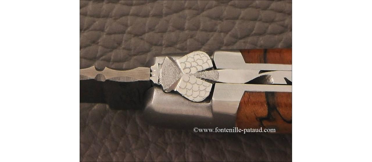 Couteau laguiole le pocket damas hêtre stabilisé debout