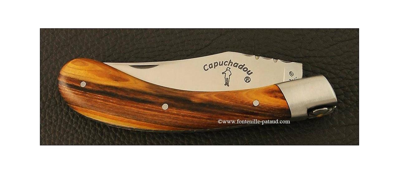 """""""Le Capuchadou-Guilloché"""" 12 cm hand made knife, Pistachio wood"""