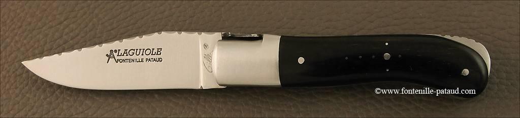 French handmade laguiole gentleman knife guilloché real ebony