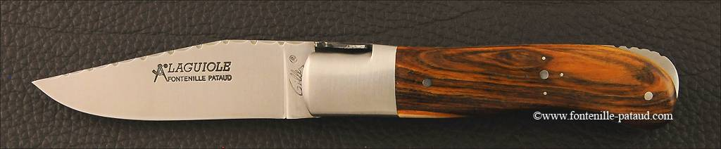 French handmade laguiole gentleman knife guilloché pistachio wood