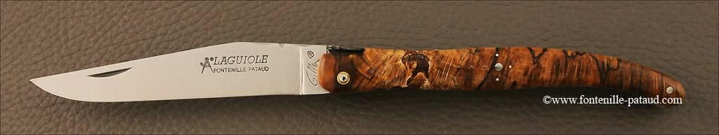 Couteau Laguiole Traditionnel 12 cm Classique Plein manche Hêtre stabilisé debout avec croix du berger et abeille typique