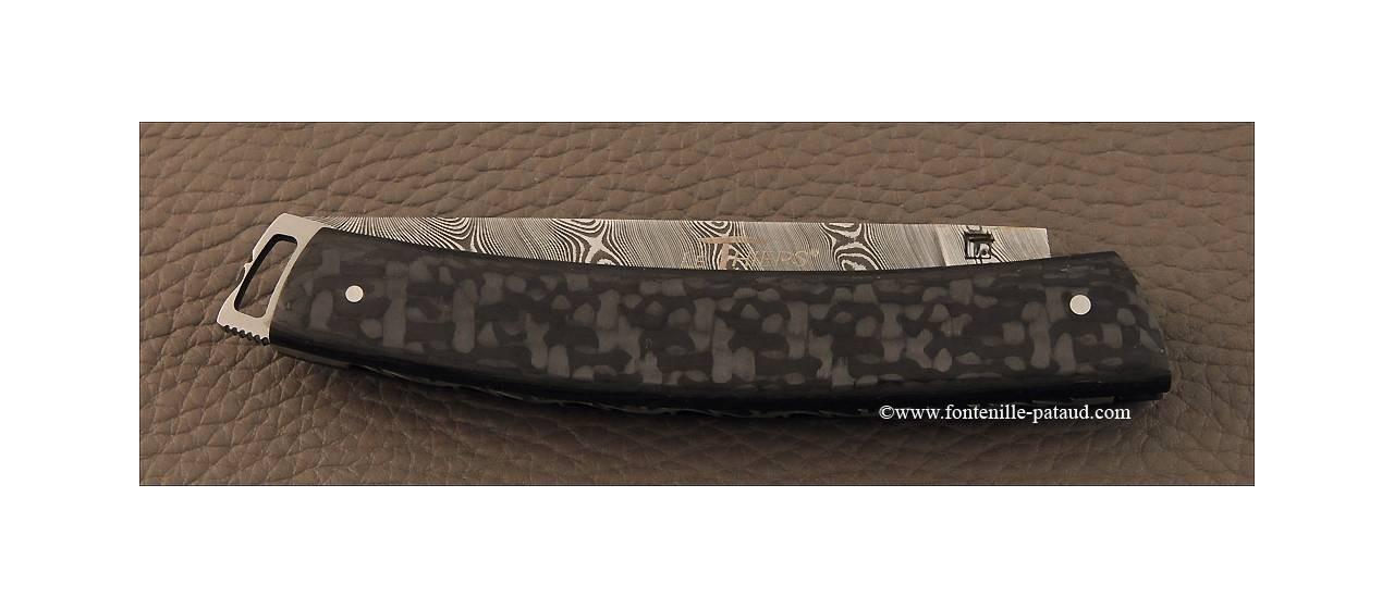 Couteau Le Thiers® Nature Damas Fibre de carbone ultra léger