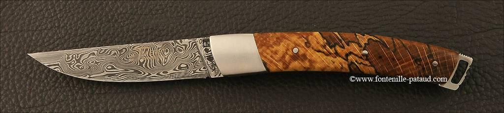 Couteau Le Thiers® Nature Damas Hêtre stabilisé debout