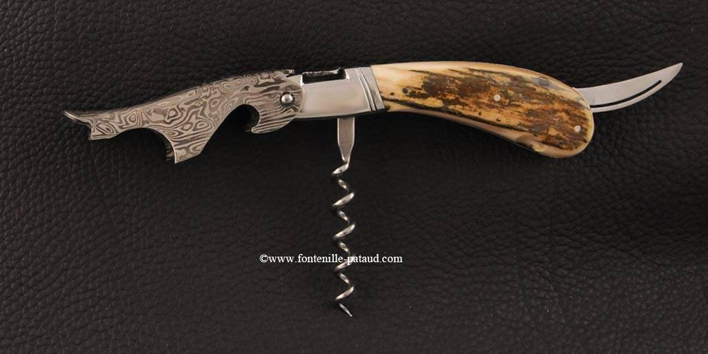 Tire-bouchon Laguiole Magnum ivoire de mammouth bleu