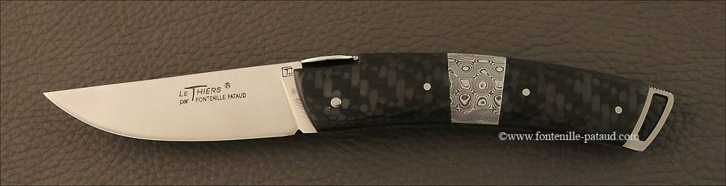 Le Thiers® Gentleman carbon fiber & damascus central bolster