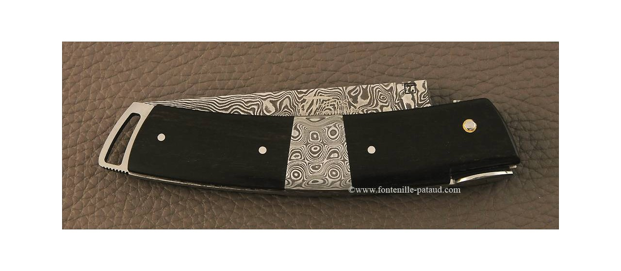 Le Thiers ® Gentleman knife Damascus Central bolster real ebony wood