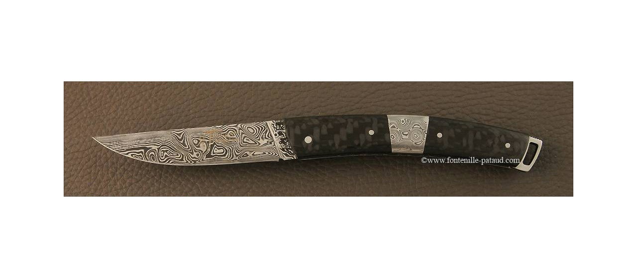 Le Thiers® Nature Damascus central bolster carbon fiber