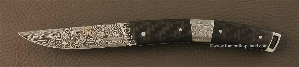 Couteau Le Thiers® Nature Damas mitre centrale fibre de carbone