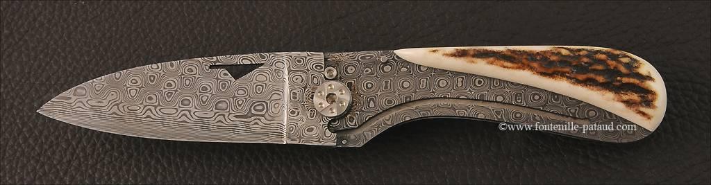 Couteau corse le U Cumpa en damas et bois de cerf
