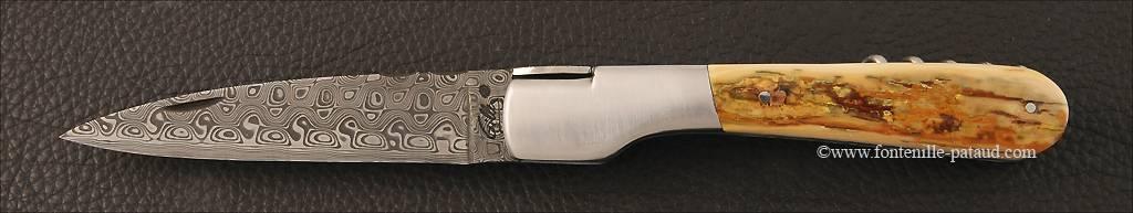 Couteau Vendetta Corse Damas avec tire-bouchon Ivoire de mammouth