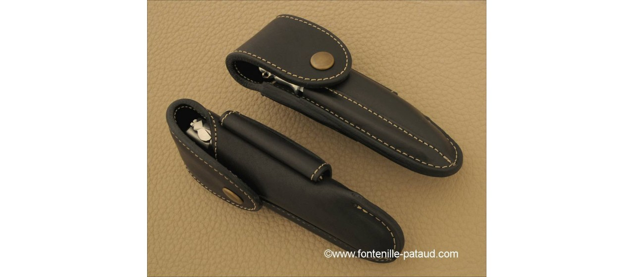Traditional High-end leather belt sheath, black, for Laguiole Nature, Laguiole 12cm, Le Thiers ® Nature et 5 Coqs