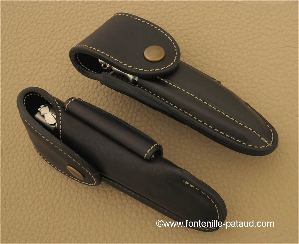Etui de ceinture traditionnel en cuir doublé coloris noir pour Laguiole Nature, Laguiole 12cm, Le Thiers® Nature, 5 Coqs...