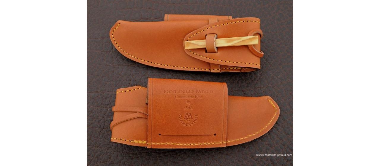 Etui de ceinture en cuir doublé pour couteaux Laguiole 12 cm et Nature, Le Thiers Nature et Gentleman