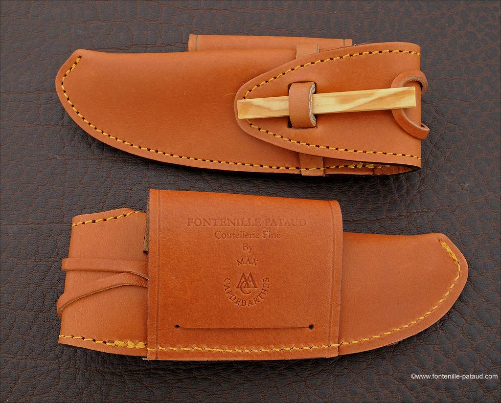 Special high-end leather belt sheath for Nature & Laguiole 12 cm knives, olive wood lock. Horizontal & Vertical wearing.