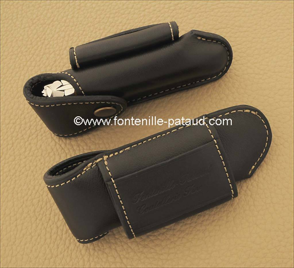 Etui de ceinture traditionnel en cuir doublé coloris noir pour Laguiole Le Pocket