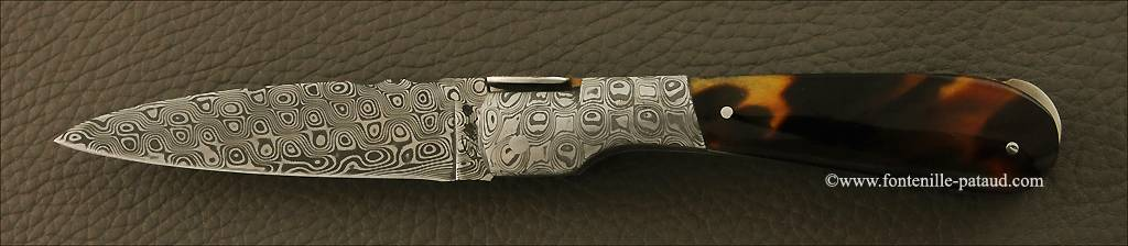 Corsican Pialincu knife Damascus range Genuine tortoise