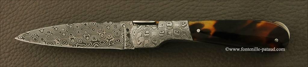 Couteau Pialincu Corse Damas et écaille de tortue