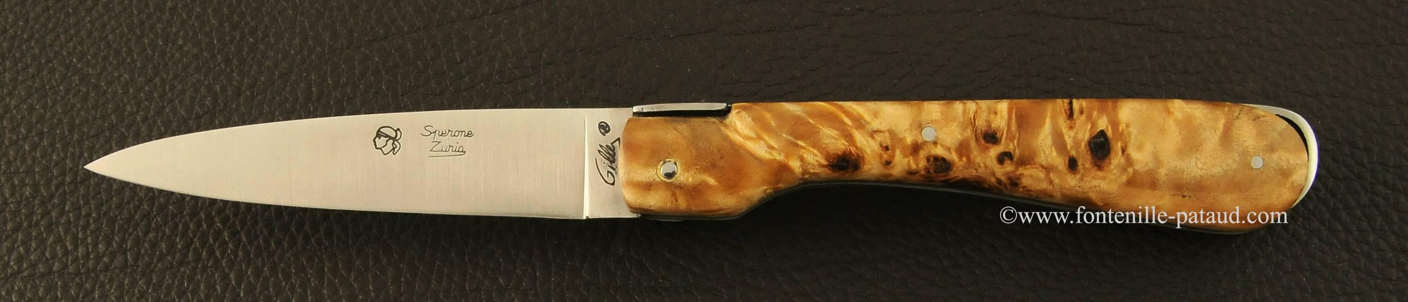 Corsican Sperone Classic Range Full handle Stabilized poplar burl