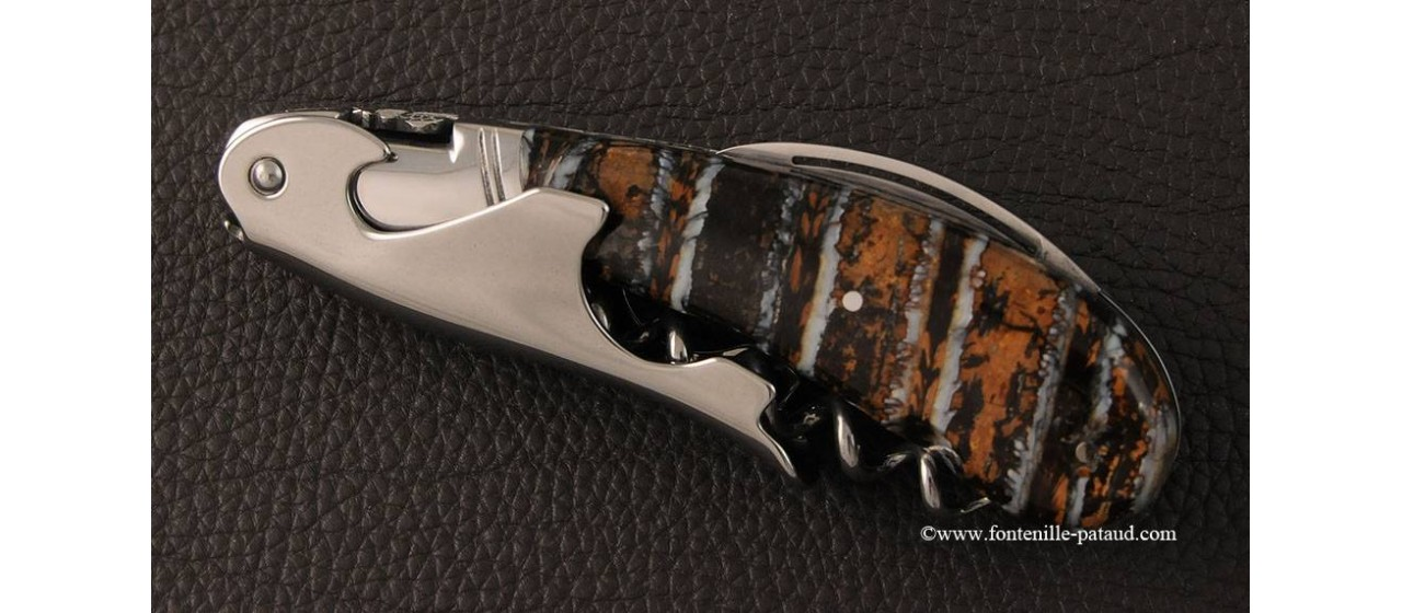 Laguiole Magnum corkscrew brown Molar tooth of mammoth