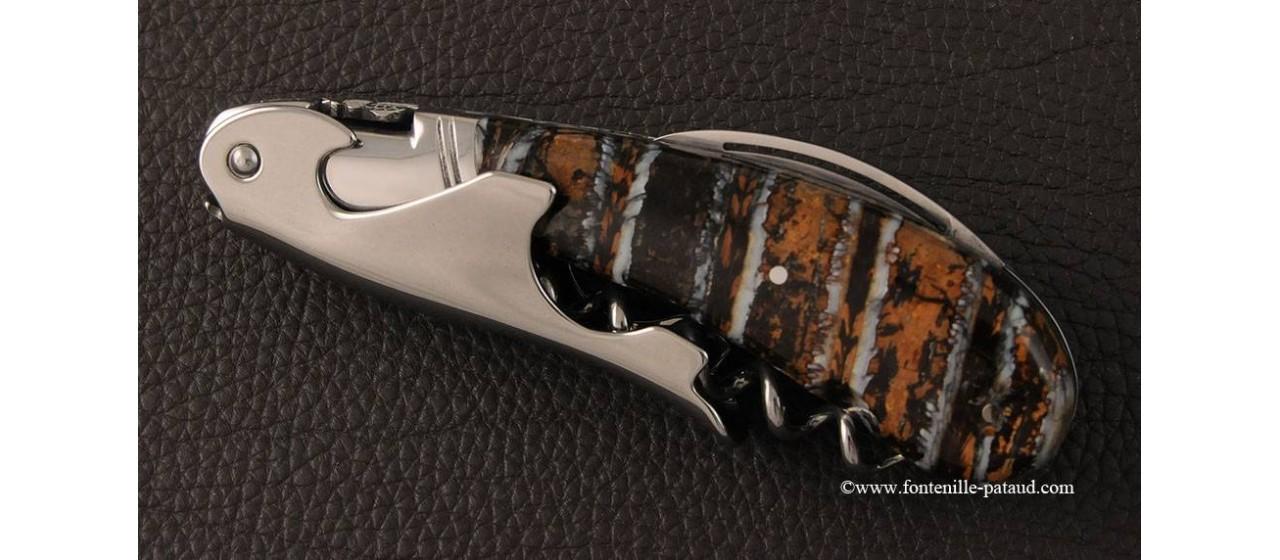 Tire-bouchon Laguiole Magnum Guilloché Molaire de mammouth fossile marron