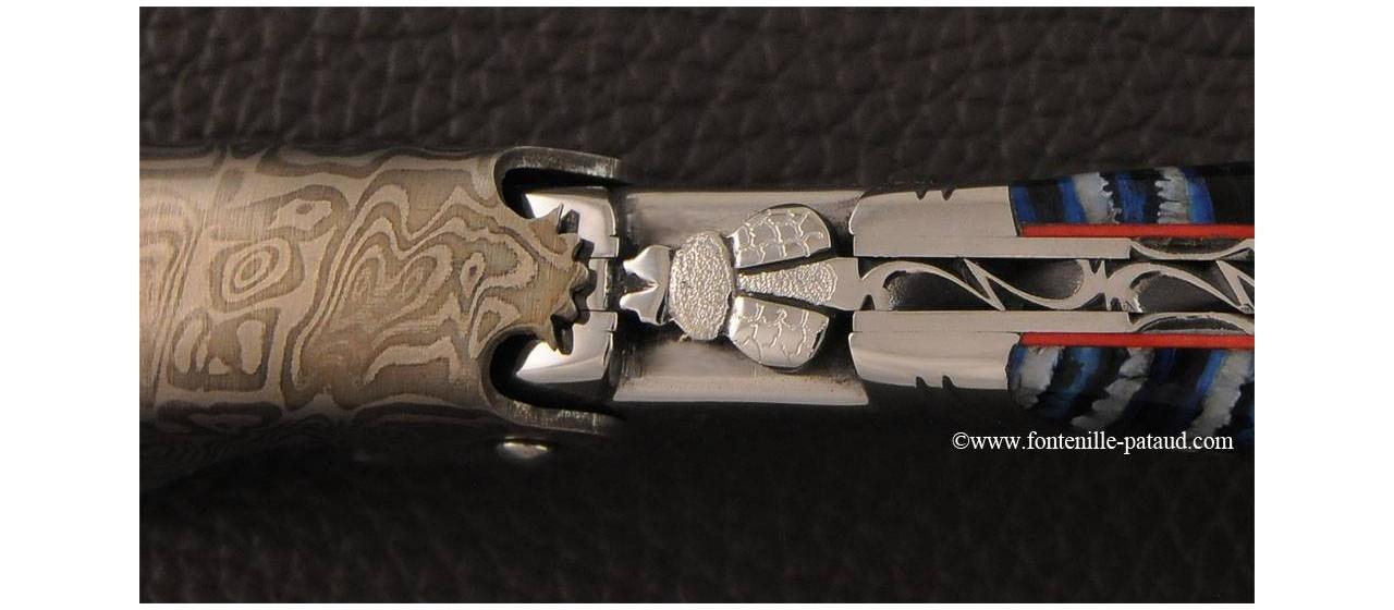 Tire-bouchon Laguiole Magnum damas et Molaire de mammouth fossile bleue