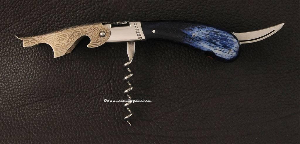 Tire-bouchon Laguiole Magnum damas os de girafe bleu