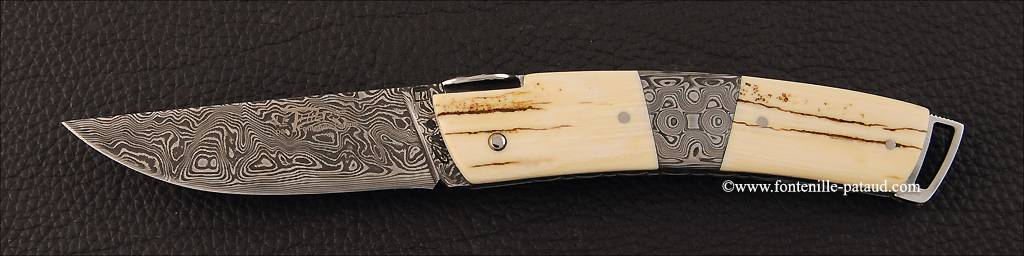 Le Thiers ® Gentleman knife Damascus Central bolster fossilized mammoth
