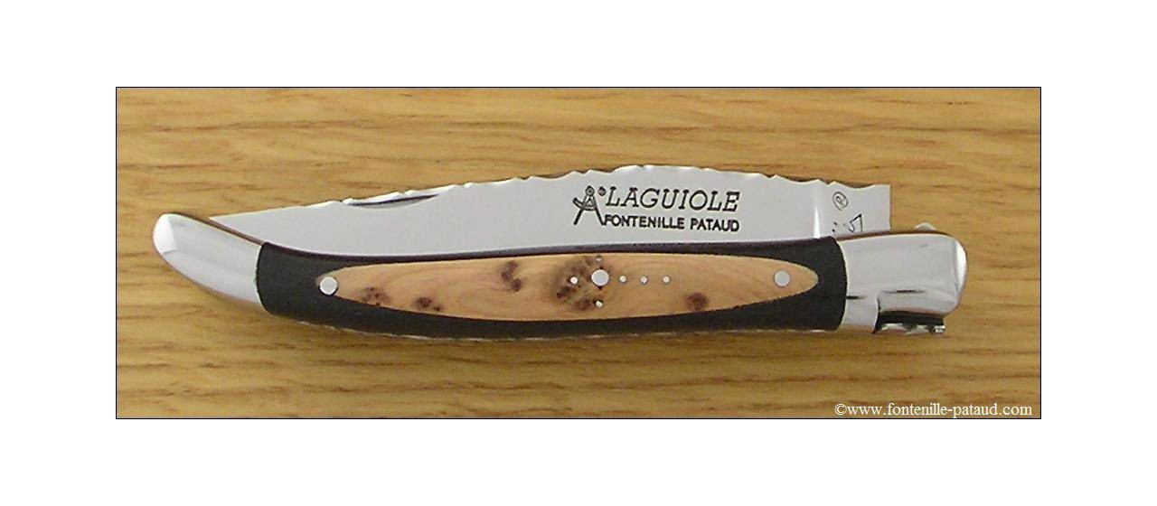 Laguiole Knife Traditional 11 cm Guilloche Range Ebony & Juniper burl