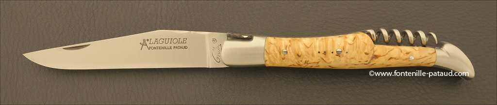 Couteau Laguiole Traditionnel 12 cm Classique avec Tire-Bouchon Bouleau