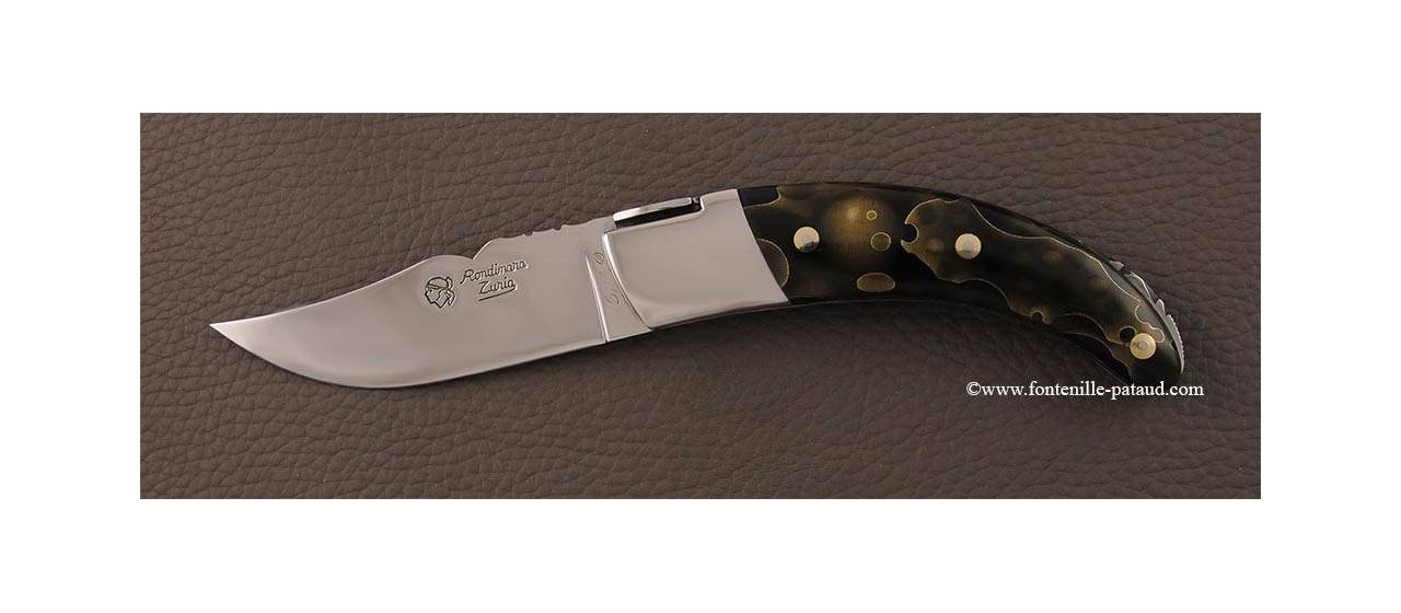 Corsican Rondinara knife guilloché range brass