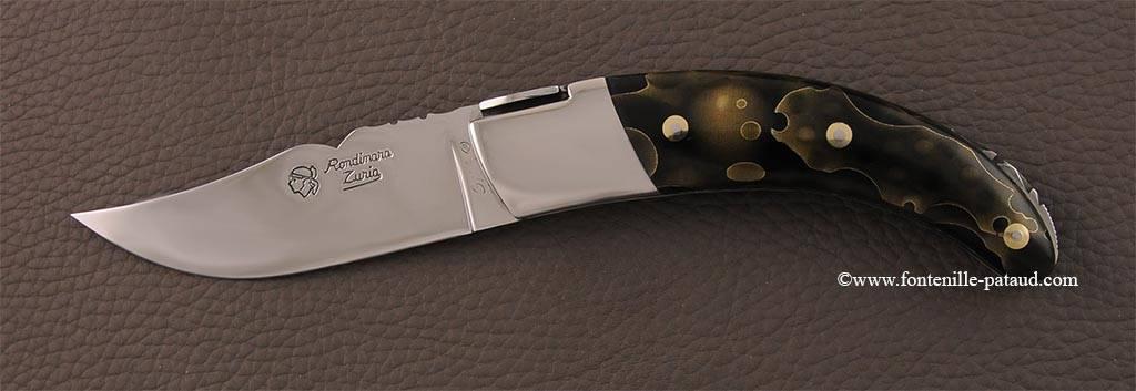 Couteau le Rondinara Guilloché Laiton