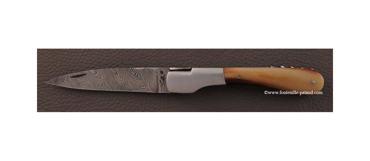 Couteau Vendetta Corse Damas avec tire-bouchon Corne blonde