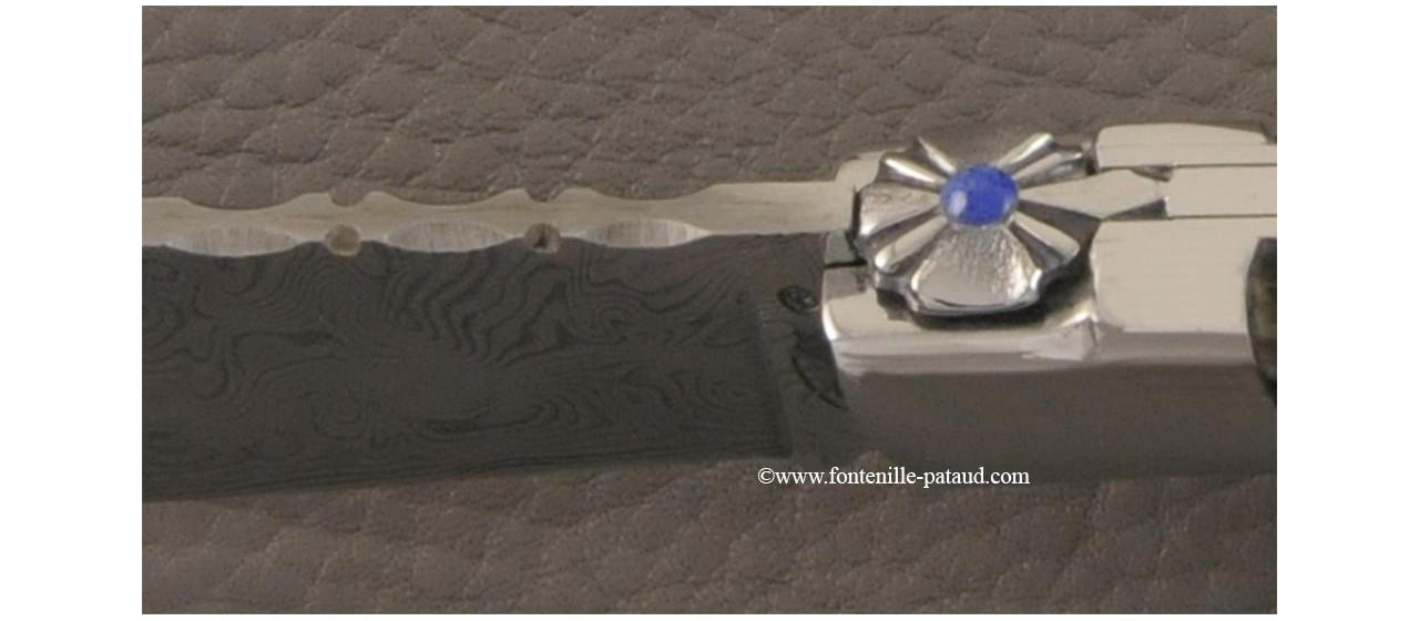Couteau Le Chamois 12 cm damas Bélier noir