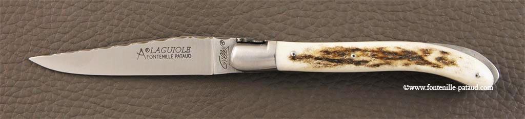 Couteau Laguiole XS Guilloche bois de cerf