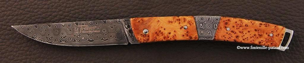 Couteau Le Thiers® Nature Damas mitre centrale bois de genévrier