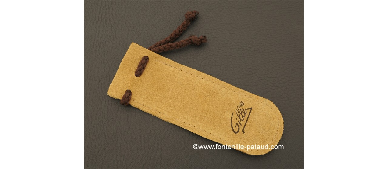 """""""Le Capuchadou-Guilloché"""" 12 cm hand made knife, black resin with bronze inlayed"""