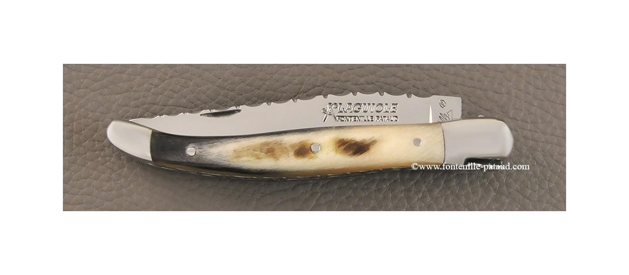 Laguiole knife with dark ram horn handle