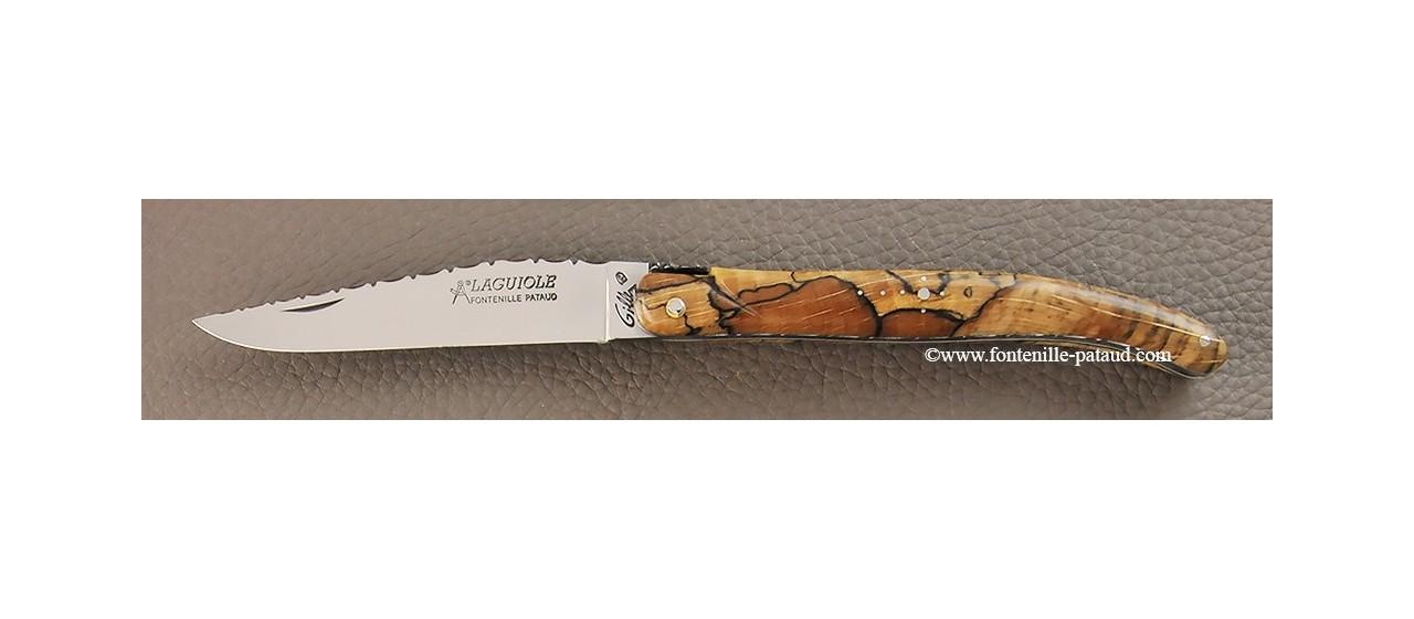 Laguiole de fabrication artisanale française plein manche hêtre stabilisé debout