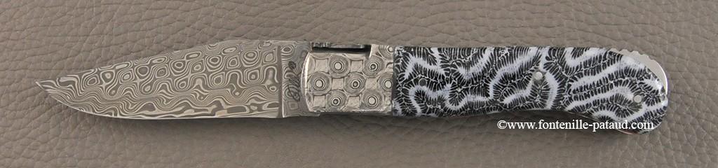 Laguiole Knife Gentleman Damascus Range Blue coral Delicate file work